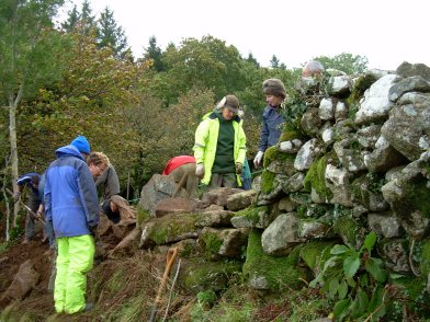 Dry stone walling at Buckland in the Moor