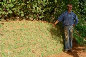 Dave with repaired turf bank